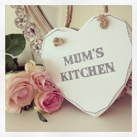 Mum's Kitchen Hanging Wooden Heart